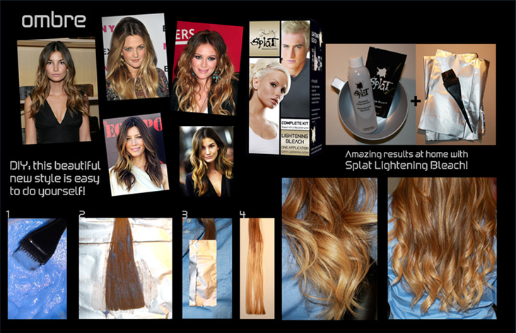 How to ombre with splat lightening bleach kit farleyco marketing inc get the latest hot hollywood look easily with splat lightening bleach kit ombre hair is where ones hair goes from dark to light from the roots to tips solutioingenieria Images